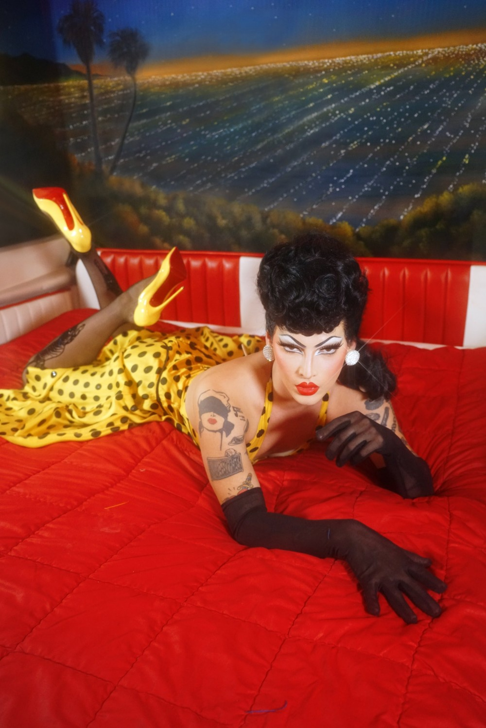 The cover of Violet Chachki's 2021 calendar. Dress courtesynbspof The Last Follies Closet shoes by Christian...