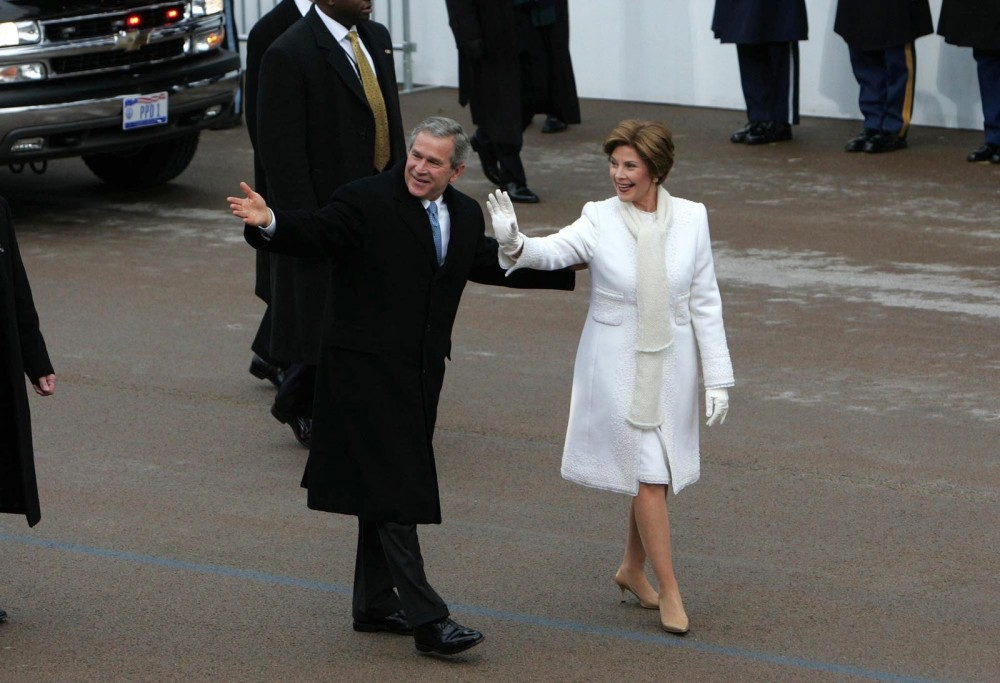 Laura Bush attending George W. Bush's second inauguration January 20 2005.