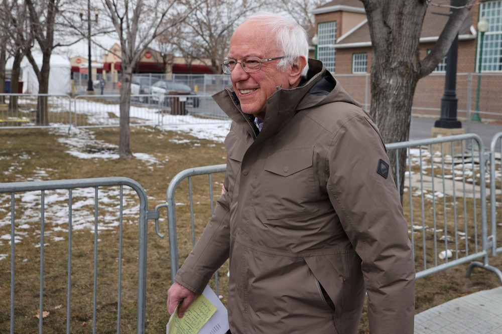 Sanders wears a Burton coat to a campaign rally in Salt Lake City Utah. March 2 2020.nbsp