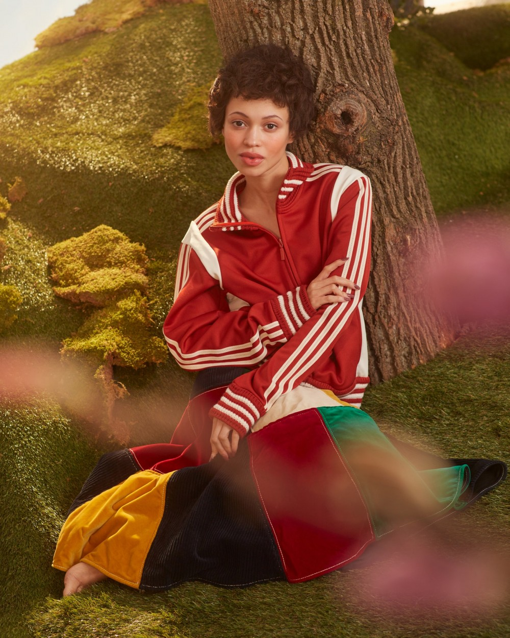 Eloisa in Wales Bonner X Adidas jacket and Wales Bonner skirt.