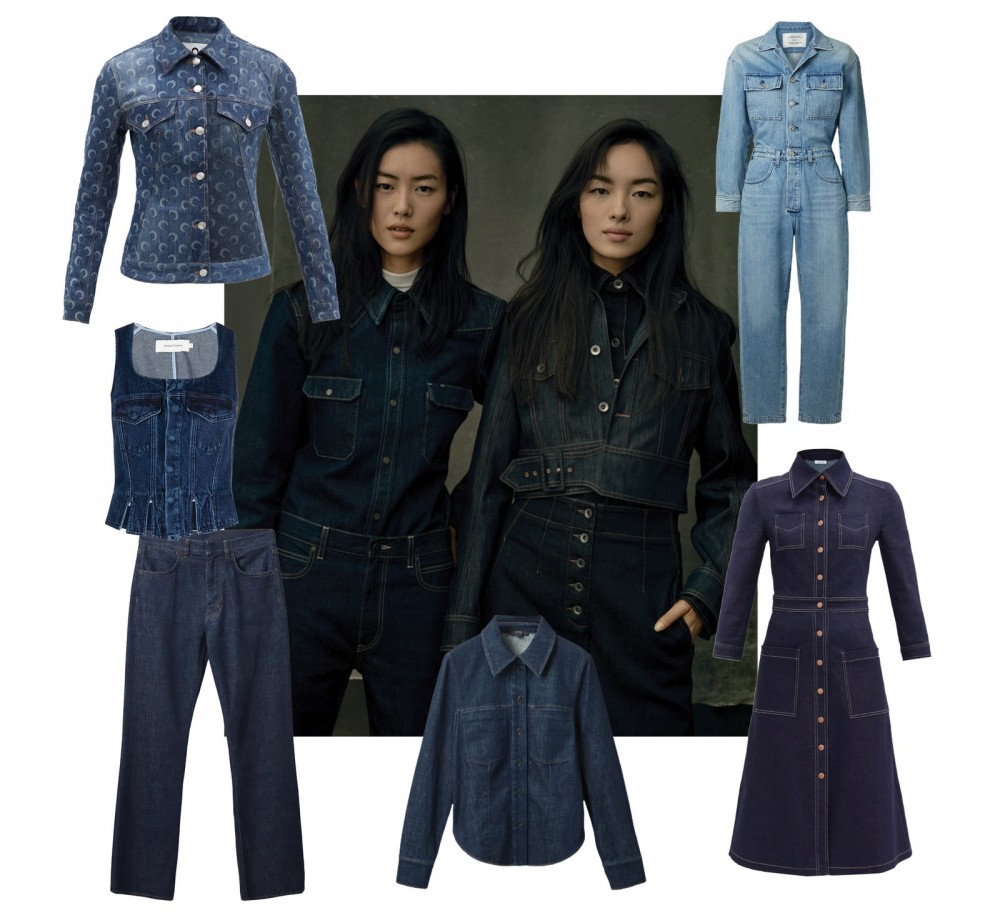 Image may contain Liu Wen Fei Fei Sun Clothing Apparel Pants Coat Denim Jeans Human Person Jacket and Overcoat
